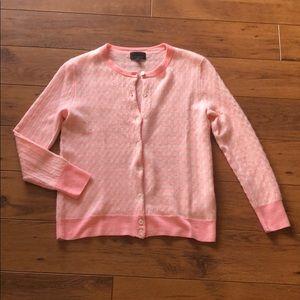 🍁 JCREW Italian cashmere pink gingham cardigan